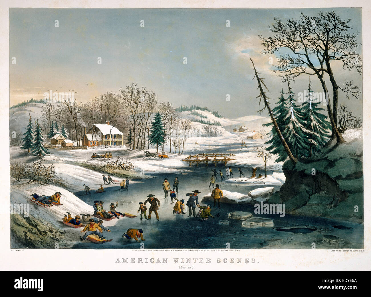 Frances Flora Bond Palmer and Nathaniel Currier (publisher), American Winter Scenes: Morning, American, born England - Stock Image