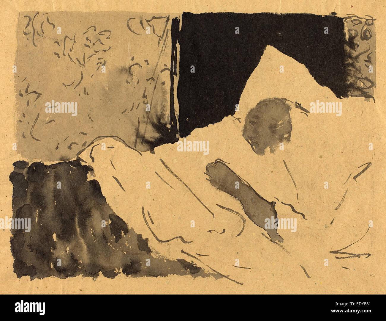 Edouard Vuillard (French, 1868 - 1940), Madame V. Sleeping, c. 1892, brush and black ink - Stock Image