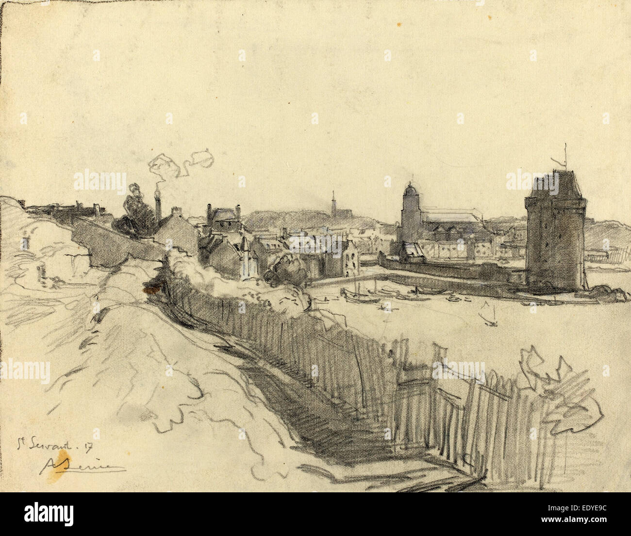 Auguste Lepère, Saint Servan, French, 1849 - 1918, 1917, graphite - Stock Image