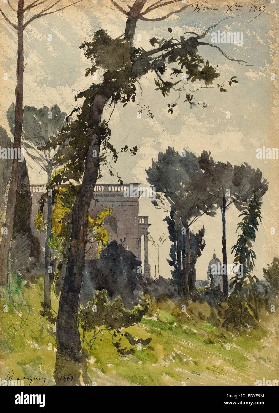 Henri-Joseph Harpignies (French, 1819 - 1916), View of the Dome of Saint Peter's, Rome, 1863, watercolor over - Stock Image