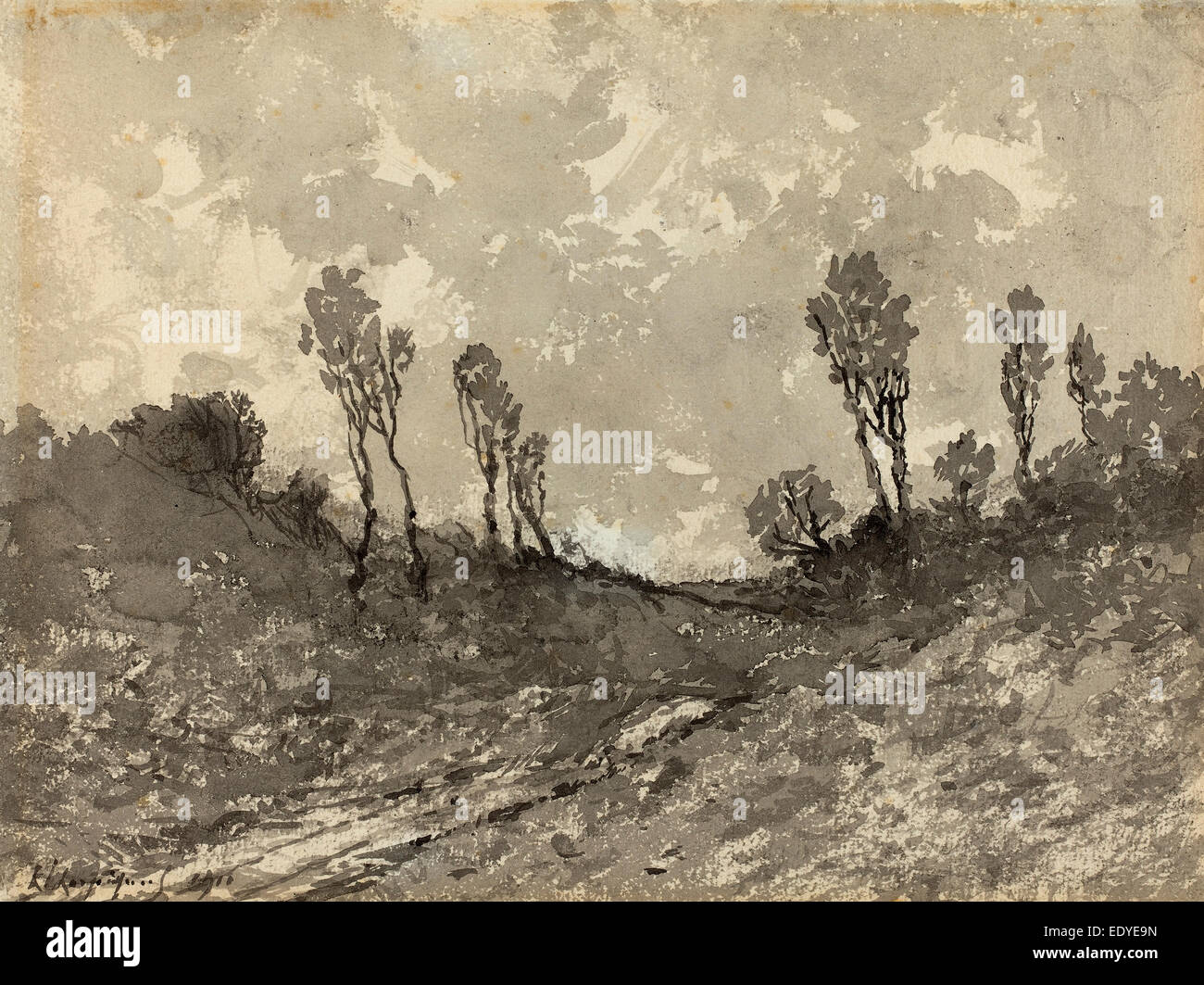 Henri-Joseph Harpignies, Road at Hérisson, French, 1819 - 1916, 1911, brush with black and gray inks over charcoal - Stock Image