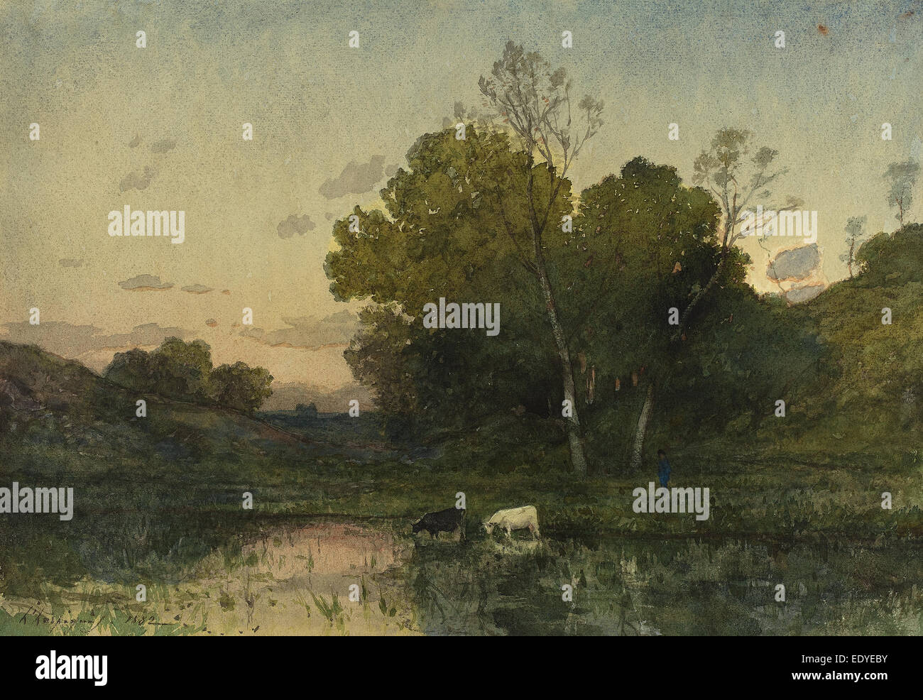 Henri-Joseph Harpignies (French, 1819 - 1916), Evening Light on a Wooded Lakeside with Cattle Drinking, 1882, watercolor - Stock Image