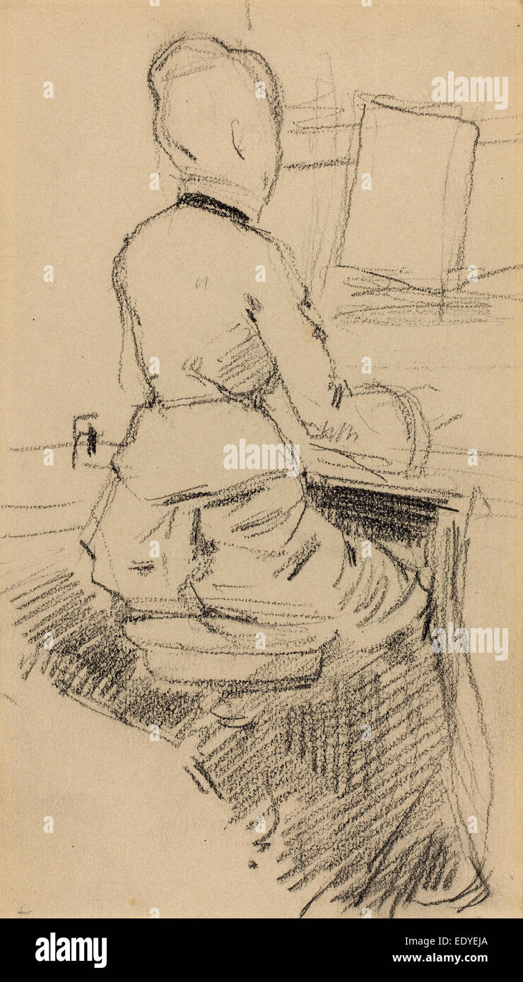 Jean-Louis Forain (French, 1852 - 1931), Young Woman Seated at a Piano [recto], c. 1890, black chalk on wove paper - Stock Image