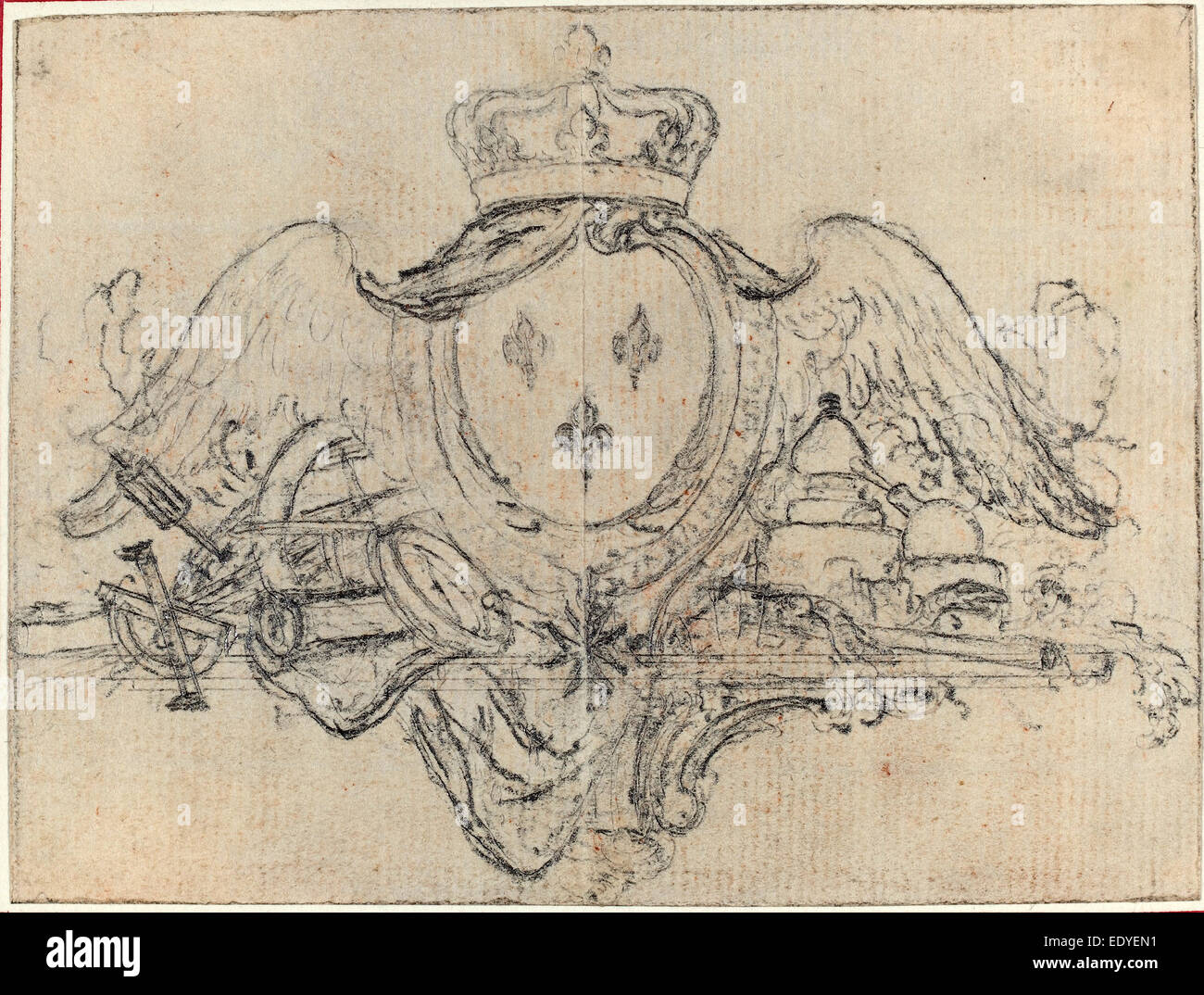 Hubert François Gravelot (French, 1699 - 1773), Arms of the King of France  with Wings and Scientific Instruments, graphite
