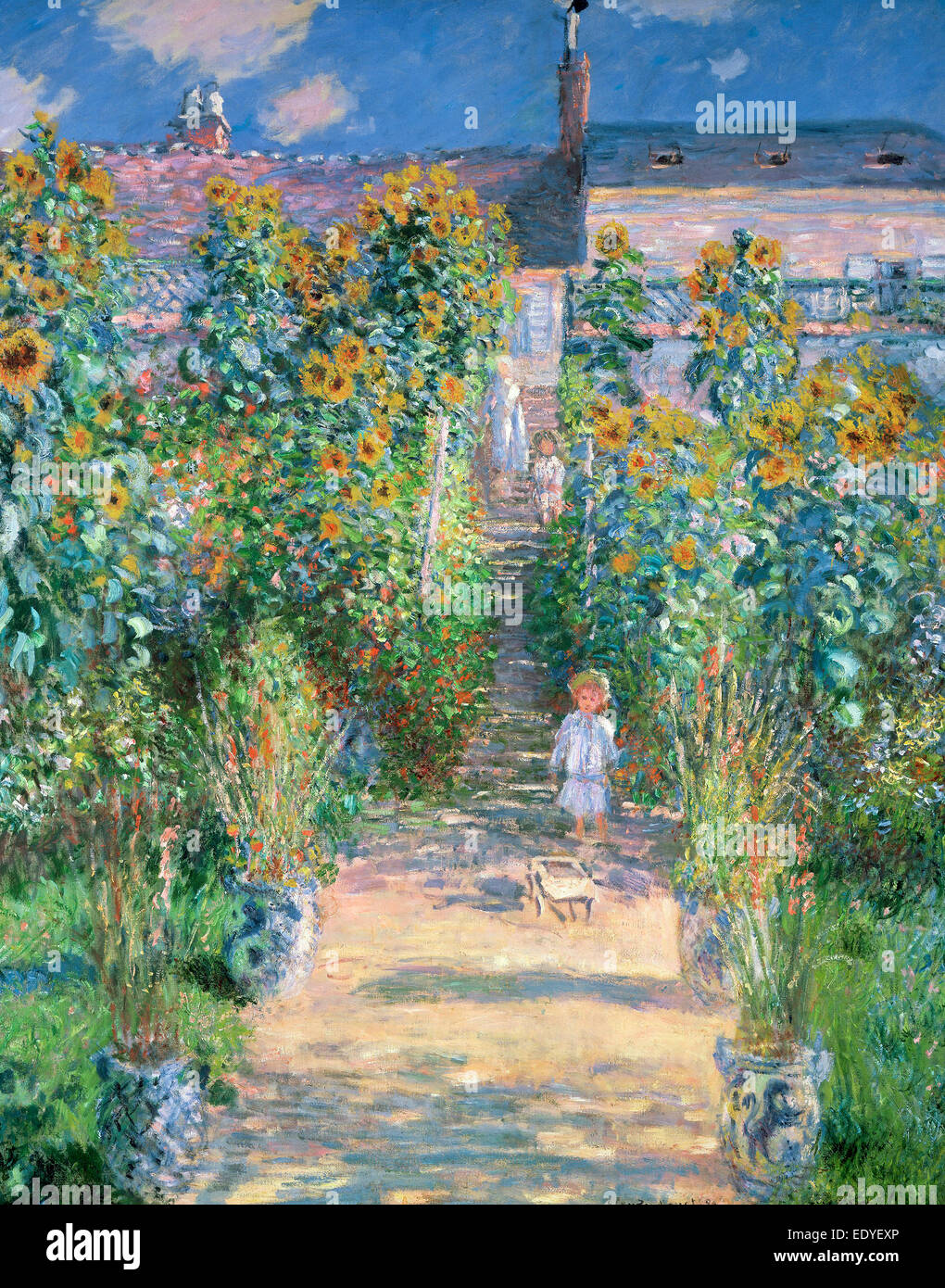 Claude Monet, The Artist's Garden at Vétheuil, French, 1840 - 1926, 1880, oil on canvas - Stock Image
