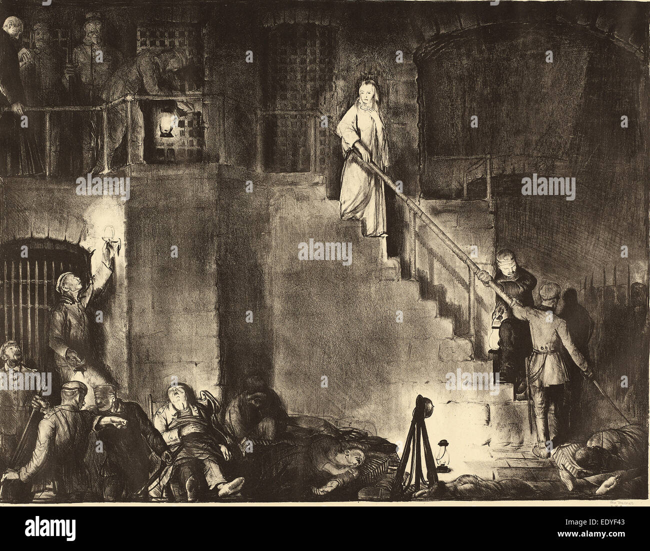 George Bellows, Murder of Edith Cavell, American, 1882 - 1925, 1918, lithograph - Stock Image