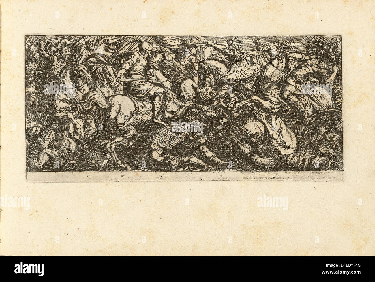 Antonio Tempesta (Italian, 1555 - 1630), Cavalry Charge with Soldiers and Horses Trampled, etching - Stock Image