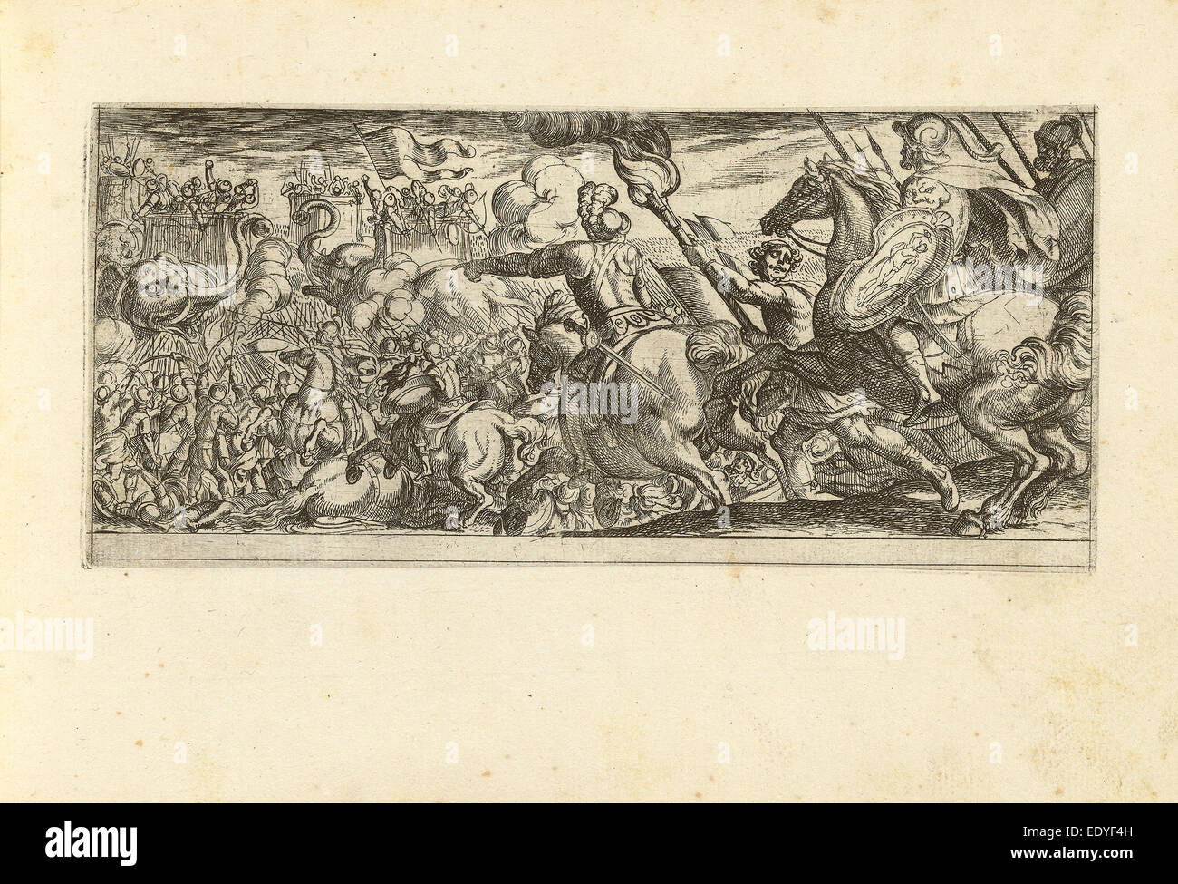 Antonio Tempesta (Italian, 1555 - 1630), Cavalry Attack on a Walled Fortress, etching - Stock Image