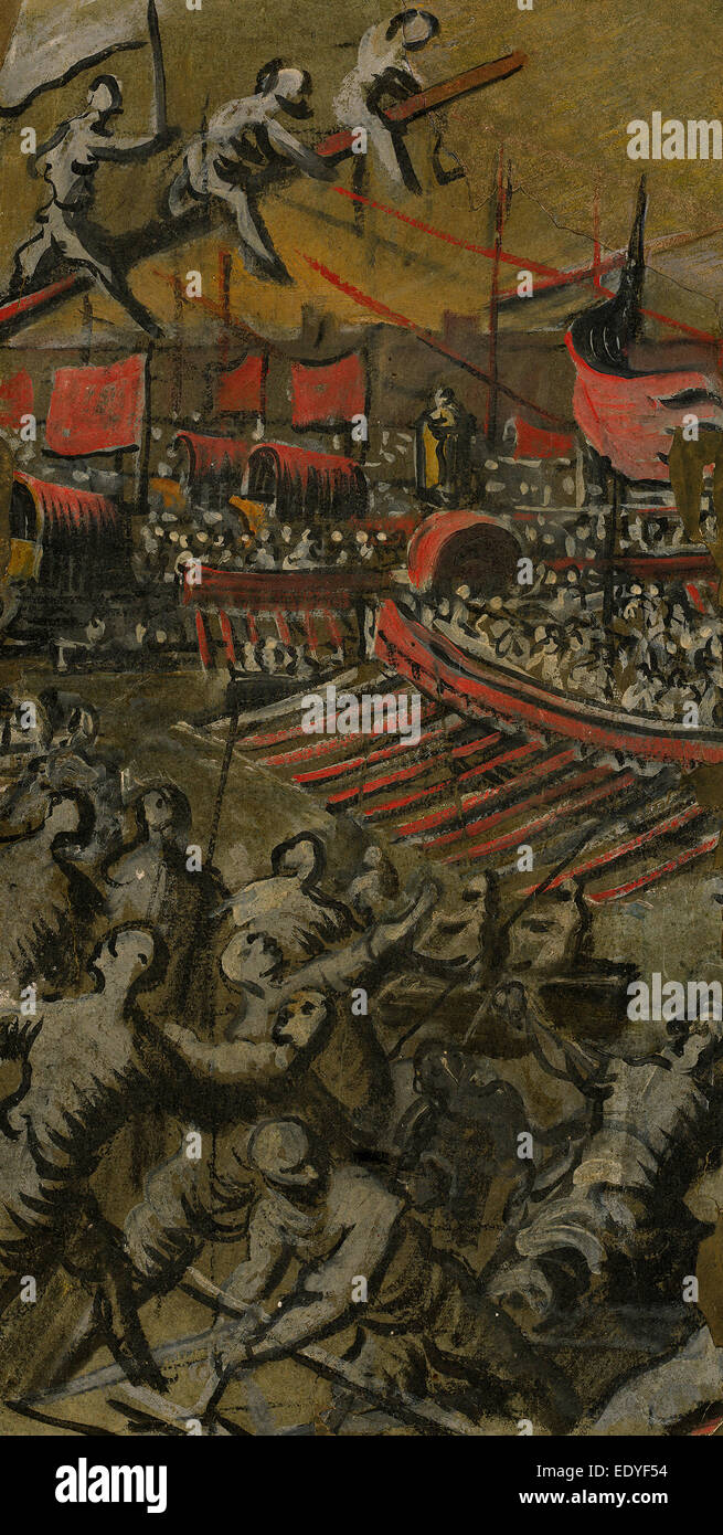 Domenico Tintoretto (Italian, 1560 - 1635), Venetian Ships Attacking Constantinople, 1598-1605, egg tempera - Stock Image