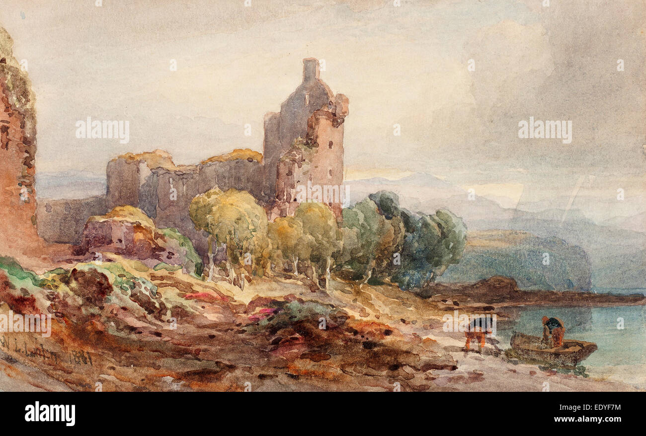 William Leighton Leitch (British, 1804 - 1883), A Ruined Castle on a Lake, 1881, watercolor over graphite on wove - Stock Image