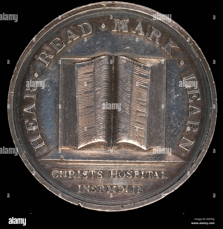 Lewis Pingo, Open Book of Exodus, British, 1743 - 1830, designed c. 1780-1790, awarded 1846, silver - Stock Image
