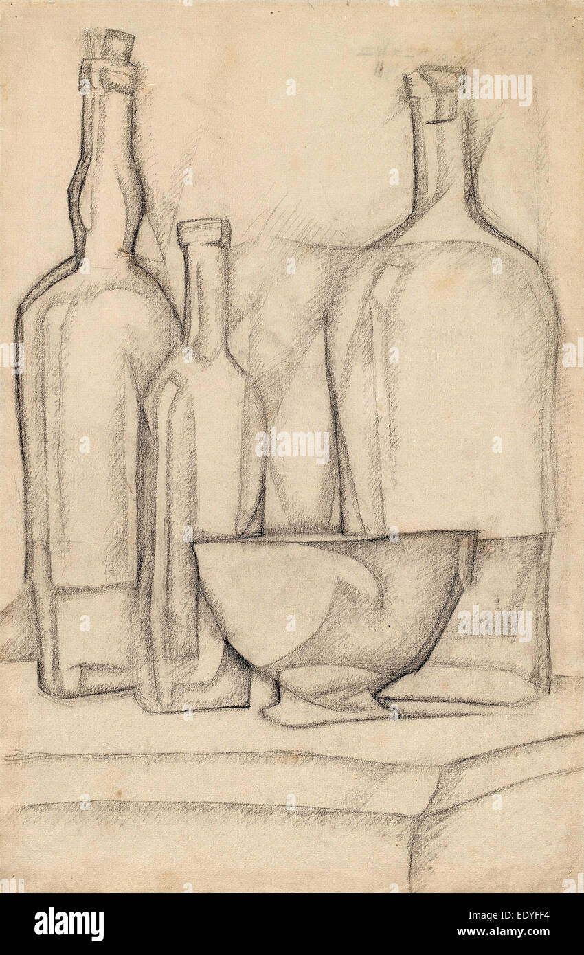 Juan Gris, Bottles and Bowl, Spanish, 1887 - 1927, 1911, graphite on laid paper - Stock Image