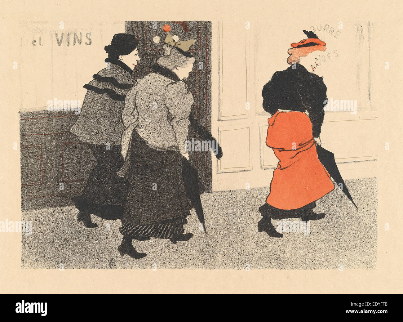 Hermann-Paul, Milliners (Modistes), French, 1864 - 1940, 1894, color lithograph - Stock Image