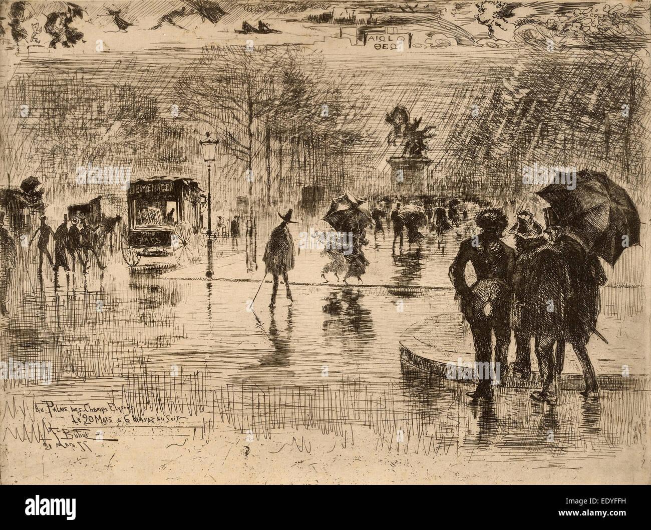 Félix-Hilaire Buhot, Le Retour des Artistes, French, 1847 - 1898, 1877, etching on laid paper Stock Photo