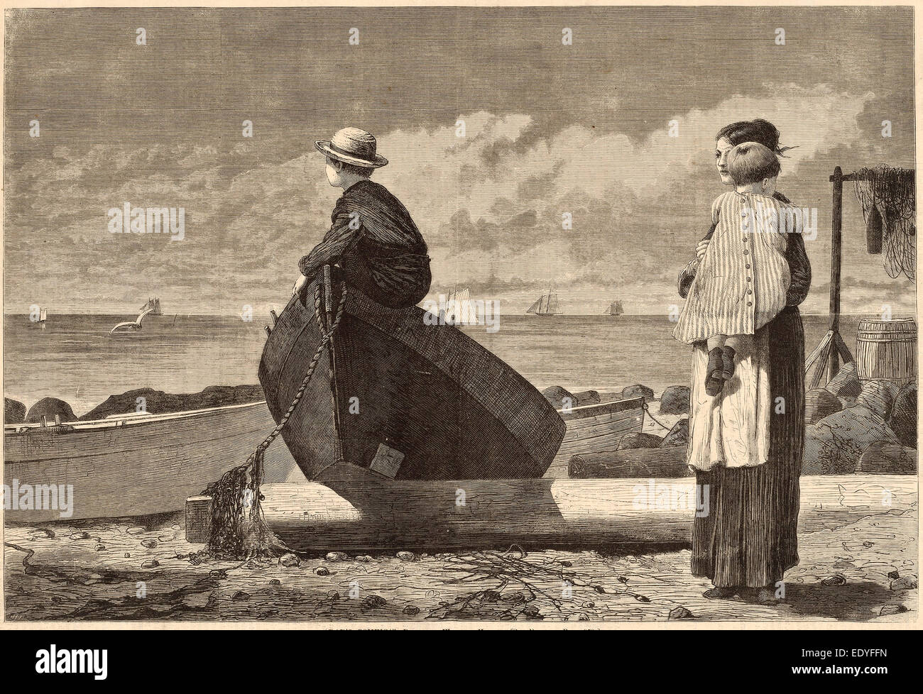 after Winslow Homer, 'Dad's Coming!', published 1873, wood engraving - Stock Image