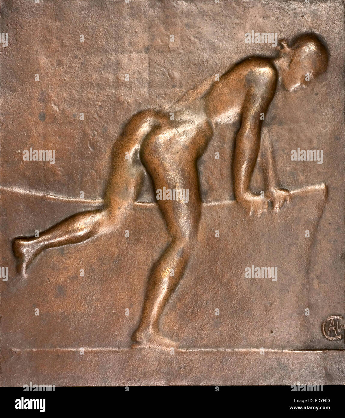 Alexandre Charpentier, Bather, French, 1856 - 1909, c. 1890, bronze - Stock Image