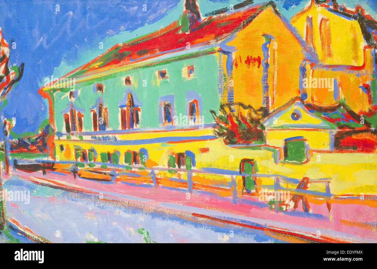 Ernst Ludwig Kirchner, Houses in Dresden, German, 1880 - 1938, 1909-1910, oil on canvas - Stock Image