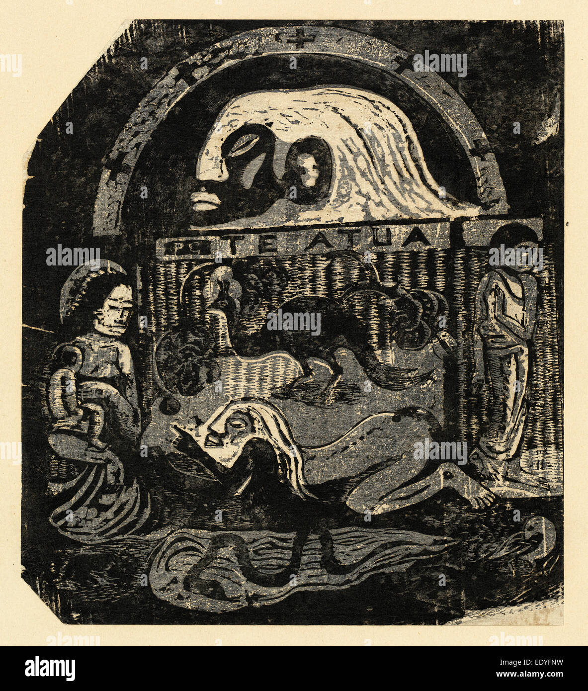 Paul Gauguin (French, 1848 - 1903), Te Atua (The Gods) Small Plate, in or after 1895, woodcut in black on thin japan - Stock Image