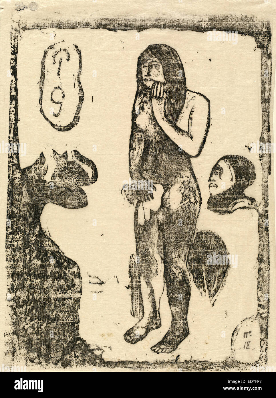 Paul Gauguin (French, 1848 - 1903), Eve, in or after 1895, woodcut on japan paper - Stock Image