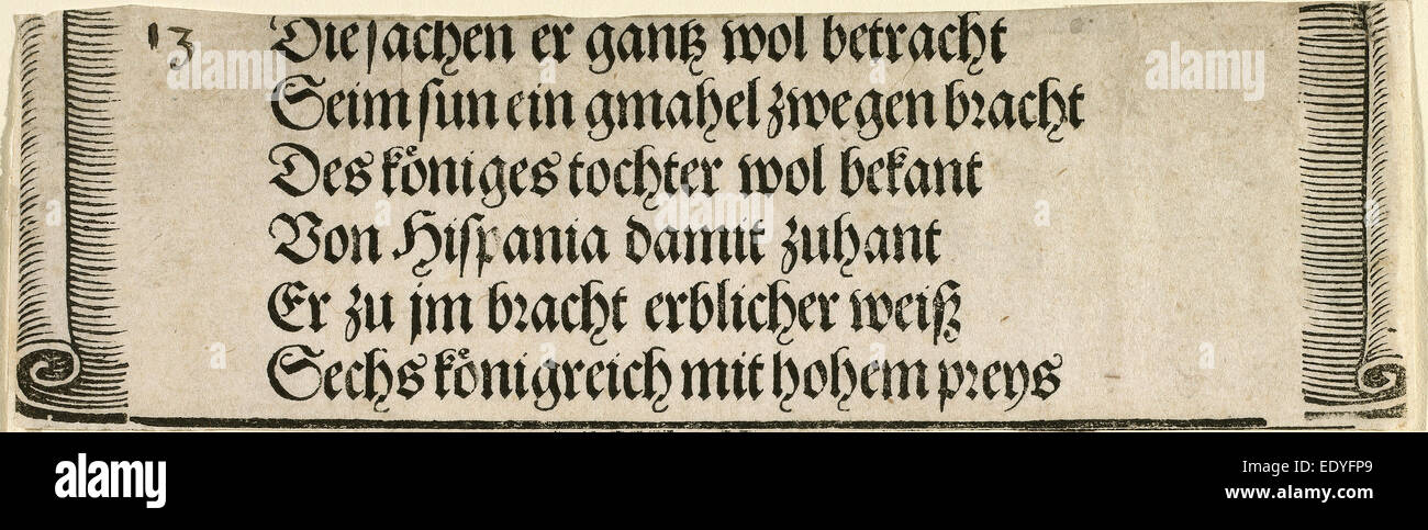 Albrecht Dürer (German, 1471 - 1528), Printed text for 'The Betrothal of Philip the Fair with Joan of Castile', - Stock Image