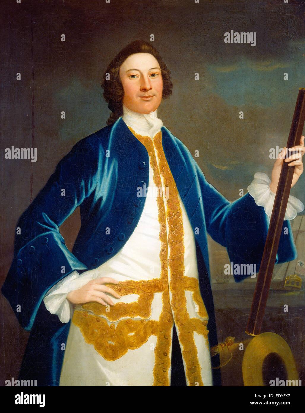 John Wollaston (American, active 1742-1775), Unidentified British Navy Officer, c. 1745, oil on canvas - Stock Image