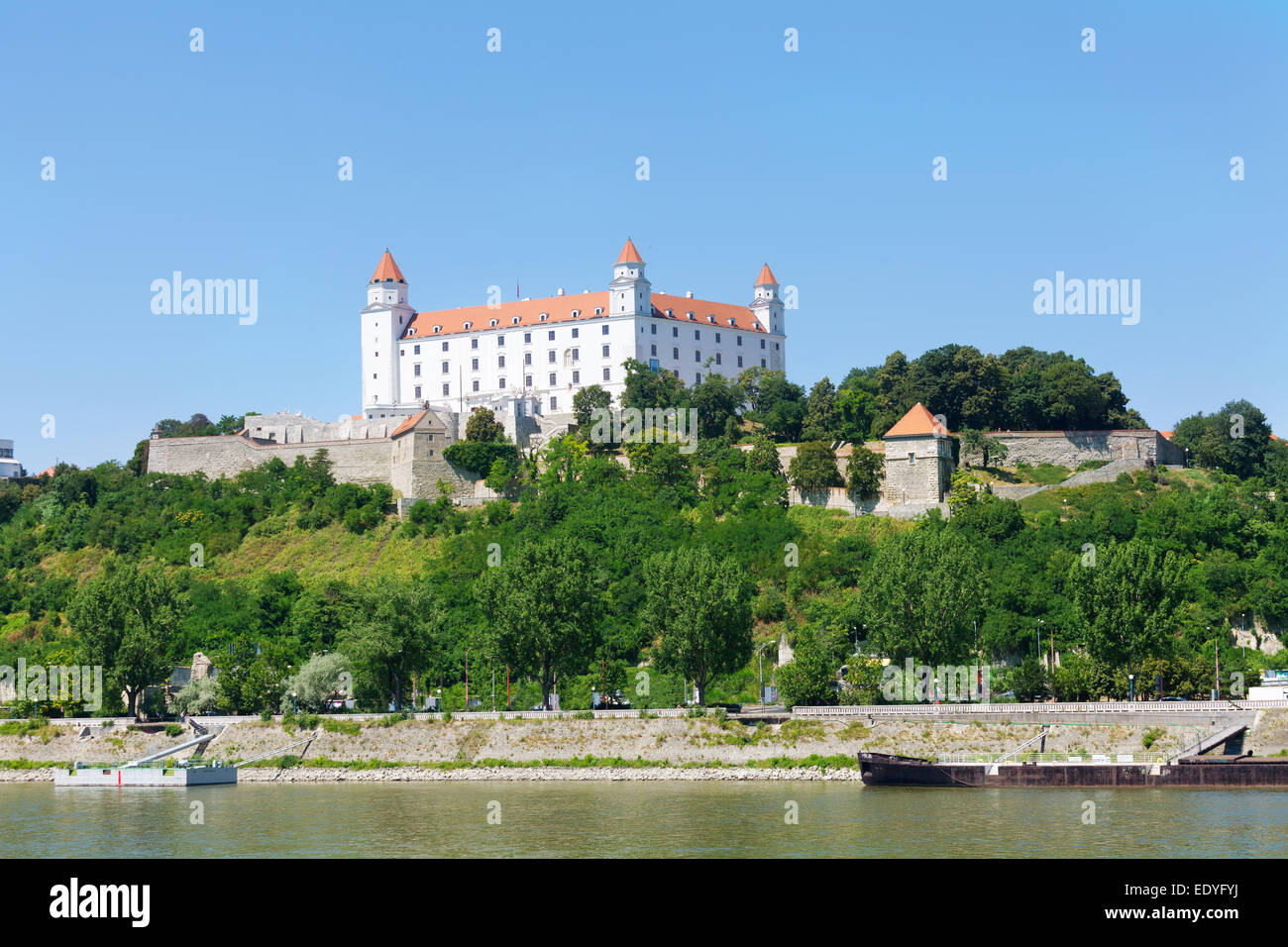 Medieval castle on the hill against the sky, Bratislava, Slovakia - Stock Image