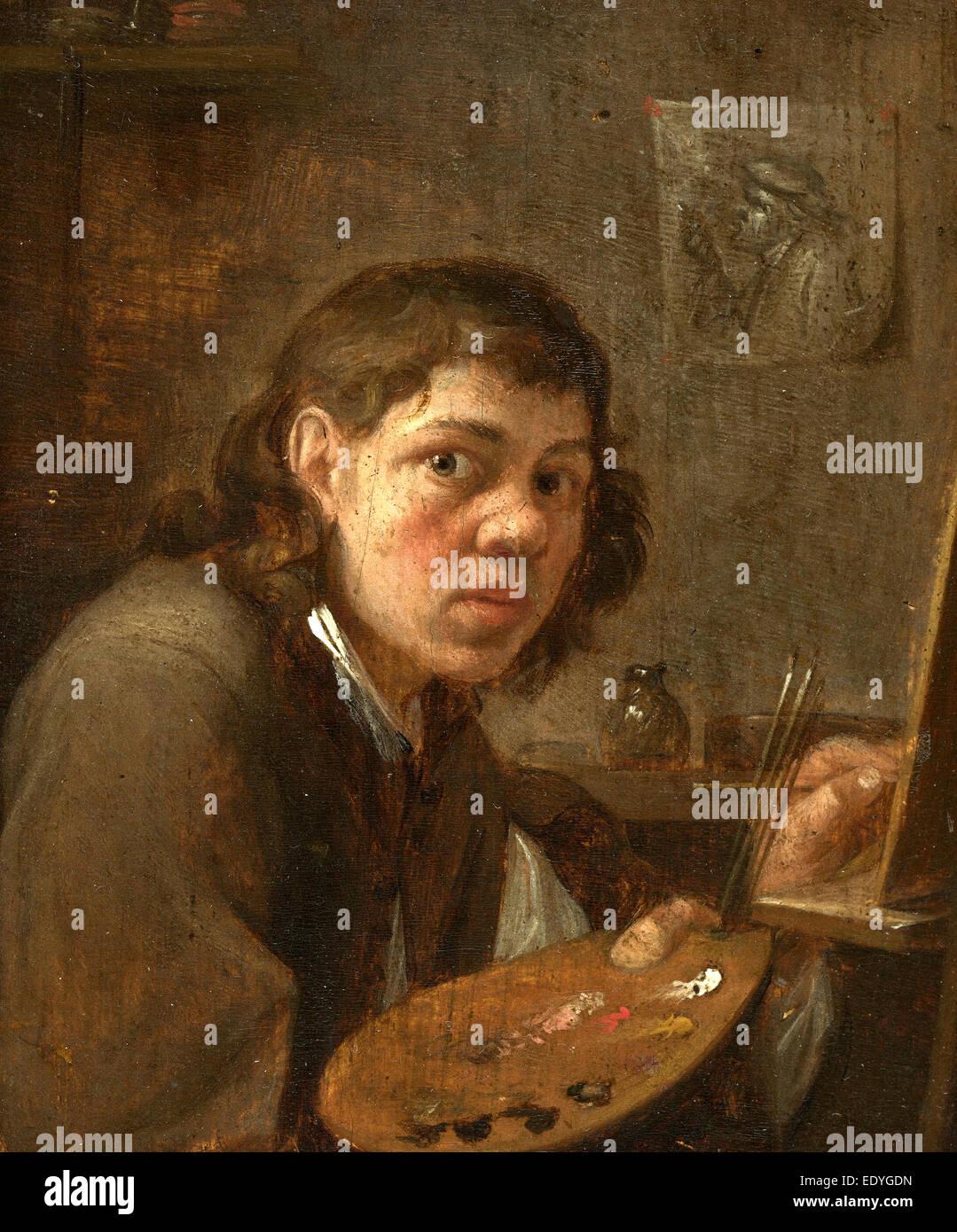 Gillis van Tilborgh the Younger, Self-Portrait in the Studio, Flemish, c. 1625 - c. 1678, c. 1645, oil on panel - Stock Image