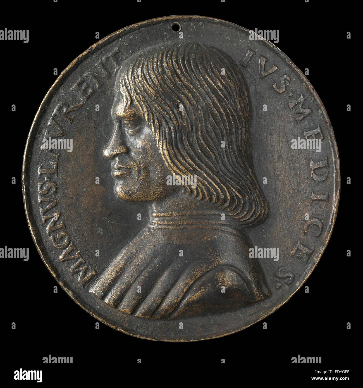 Niccolò Fiorentino (Italian, 1430 - 1514), Lorenzo de' Medici, il Magnifico, 1449-1492, bronze; Late cast, hollow Stock Photo