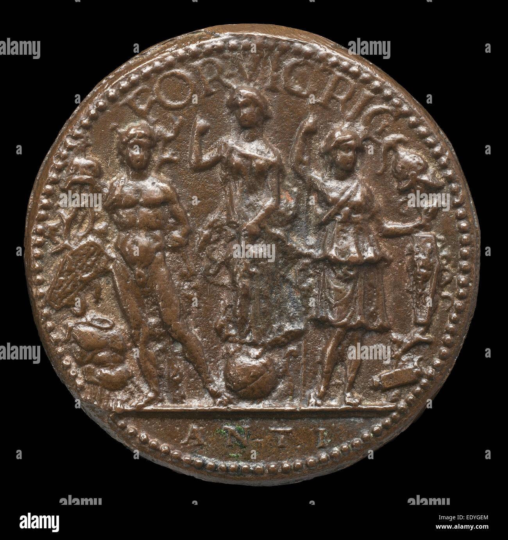 Antico (Italian, c. 1460 - 1528), Fortune, Mars, and Minerva, bronze - Stock Image