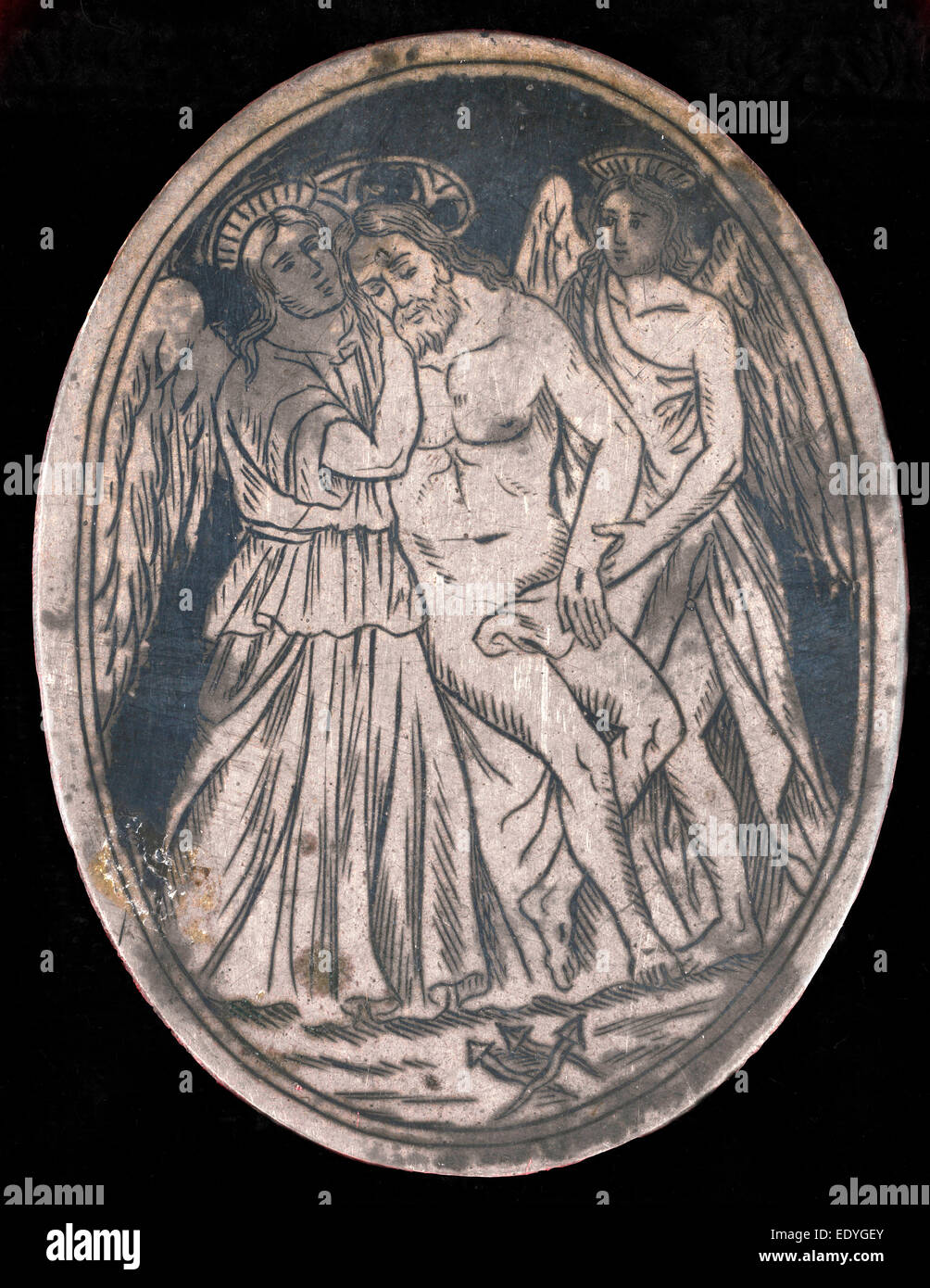 Probably Venetian 16th Century, Dead Christ Supported by Two Angels, c. 1589, niello plate - Stock Image