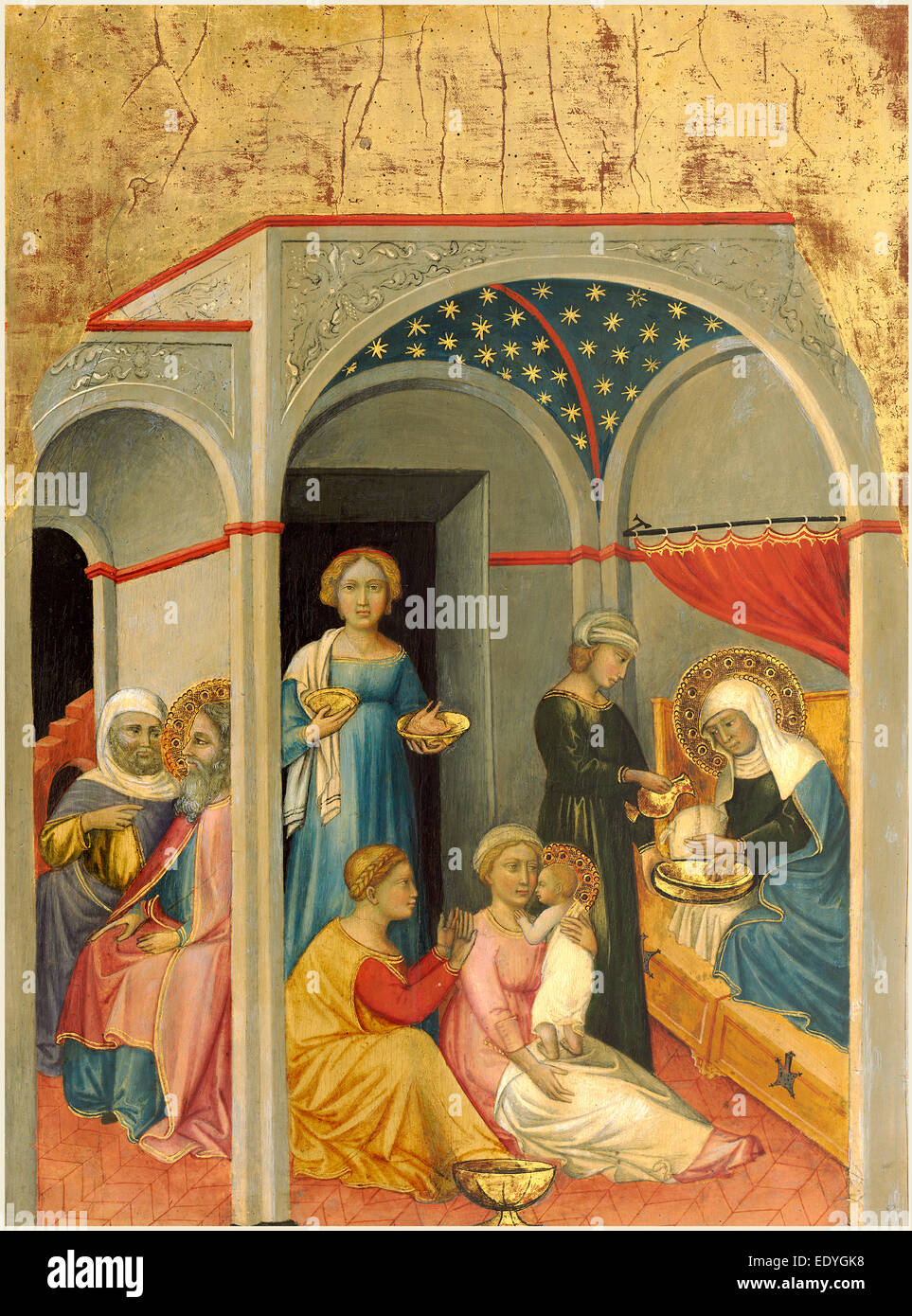 Andrea di Bartolo, Italian (documented from 1389-died 1428), The Nativity of the Virgin, c. 1400, tempera on panel - Stock Image