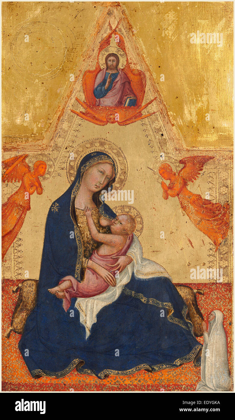Andrea di Bartolo, Italian (documented from 1389-died 1428), Madonna and Child [obverse], c. 1415, tempera on panel - Stock Image