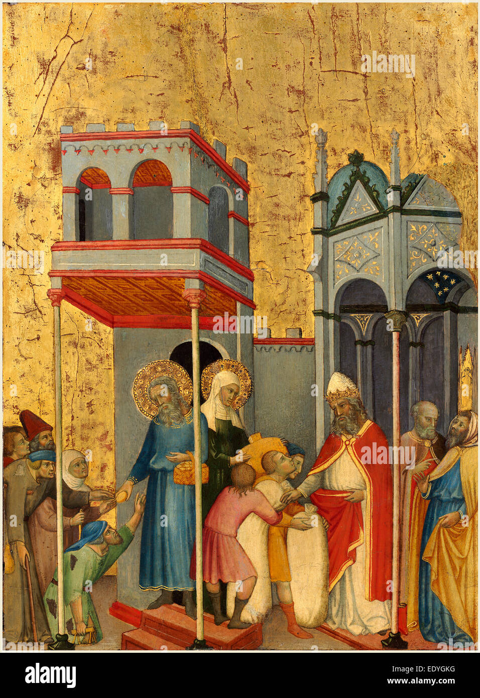 Andrea di Bartolo, Italian (documented from 1389-died 1428), Joachim and the Beggars, c. 1400, tempera on panel - Stock Image
