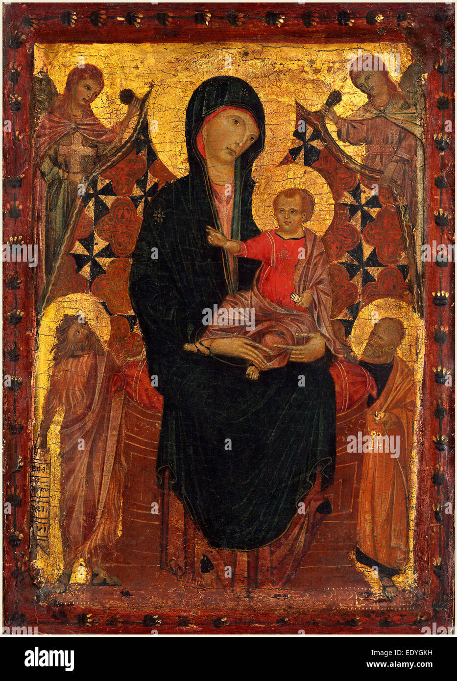 Attributed to Cimabue, Italian (mentioned 1272-active 1302), Madonna and Child with Saint John the Baptist and Saint - Stock Image