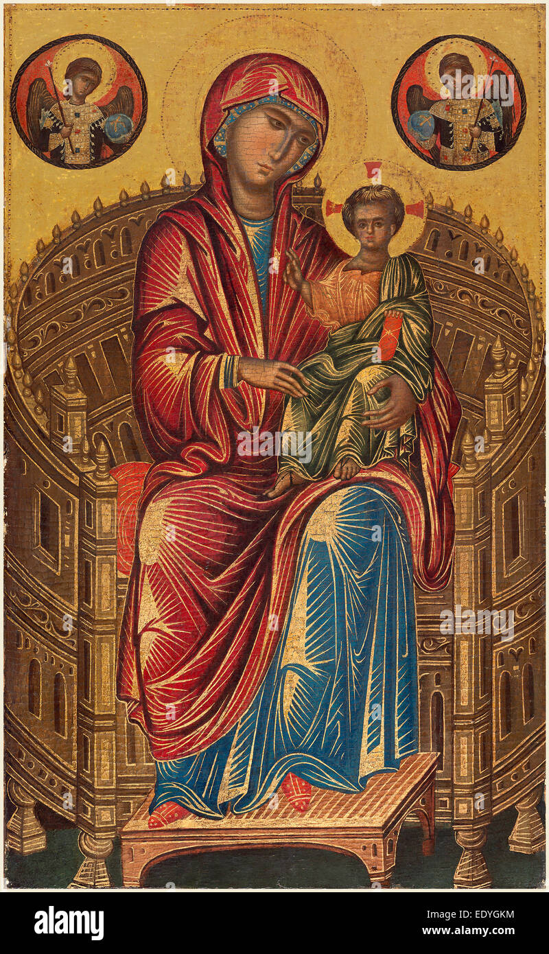 Byzantine 13th Century, Madonna and Child on a Curved Throne, 13th century, tempera on panel - Stock Image