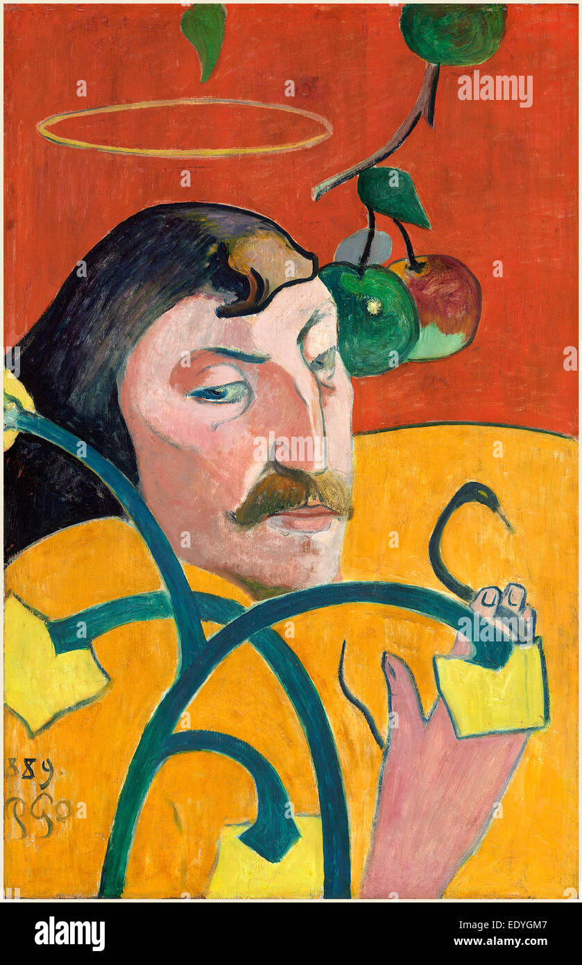 Paul Gauguin, French (1848-1903), Self-Portrait, 1889, oil on wood - Stock Image