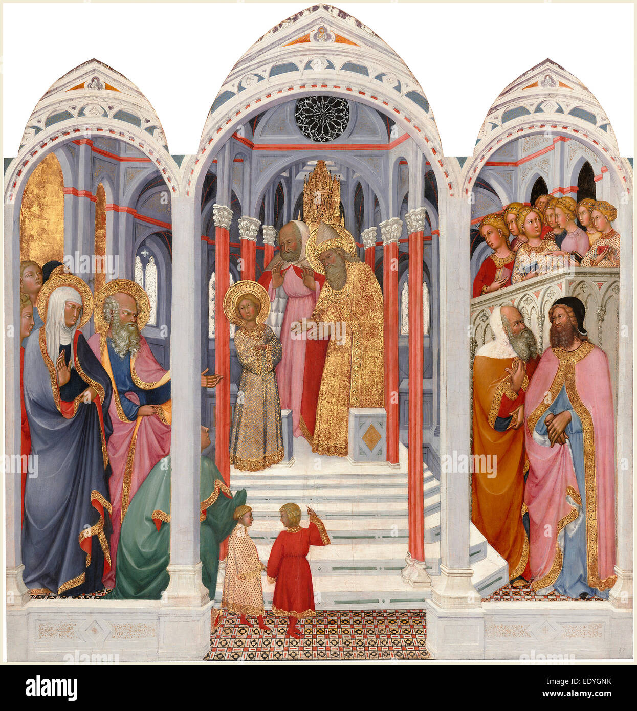 Paolo di Giovanni Fei, Italian (mentioned 1369-1411), The Presentation of the Virgin, c. 1400, tempera on wood - Stock Image
