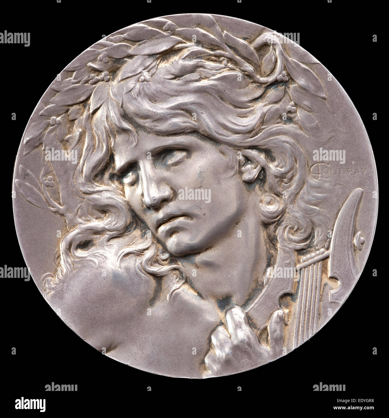 Marie-Alexandre-Lucien Coudray, Orpheus [obverse], French, 1864 - 1932, c. 1893, silver - Stock Image