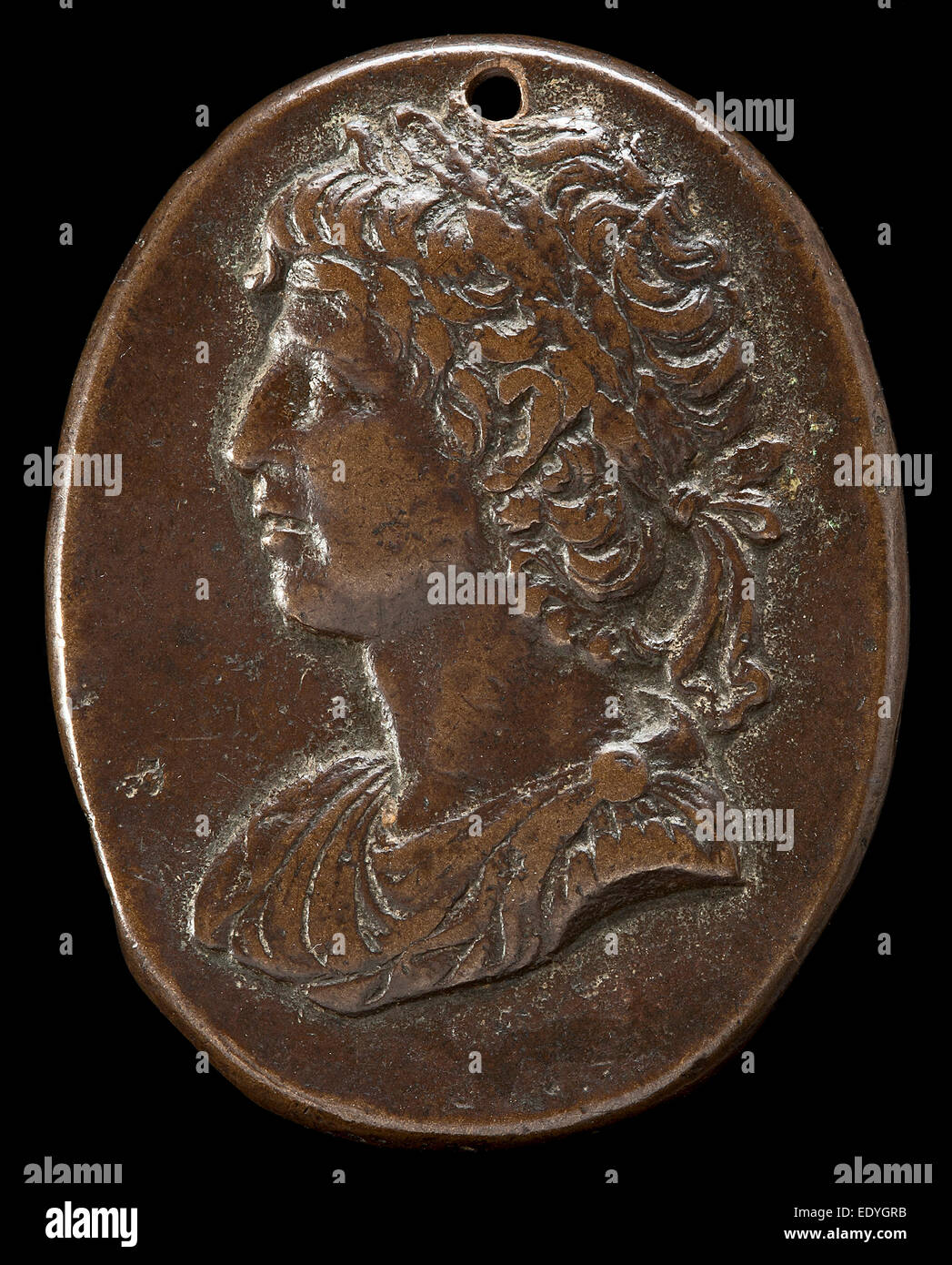 Italian 15th or 16th Century, after the Antique, A Roman Emperor, 15th or 16th century, bronze; Medium brown patina - Stock Image