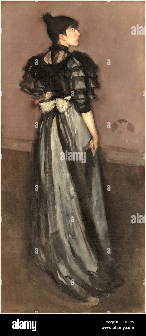 James McNeill Whistler, Mother of Pearl and Silver: The Andalusian, American, 1834-1903, 1888(?)-1900, oil on canvas - Stock Image