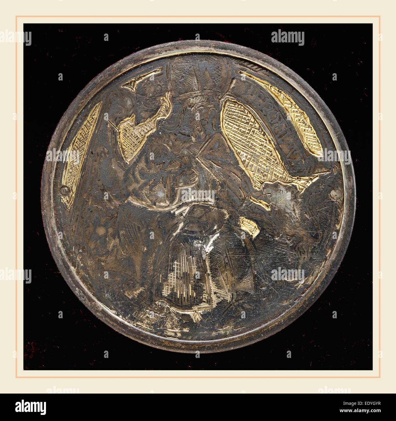 Italian 15th Century, Saint Jerome, niello plate - Stock Image