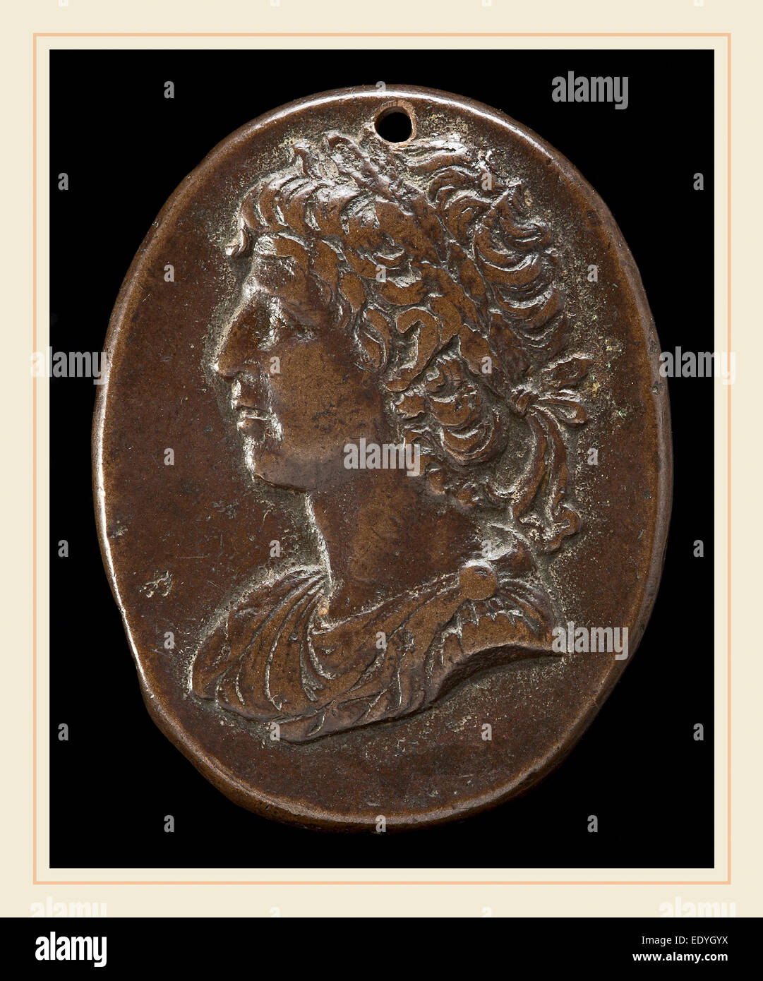 Italian 15th or 16th Century, after the Antique, A Roman Emperor, 15th or 16th century, bronze--Medium brown patina - Stock Image