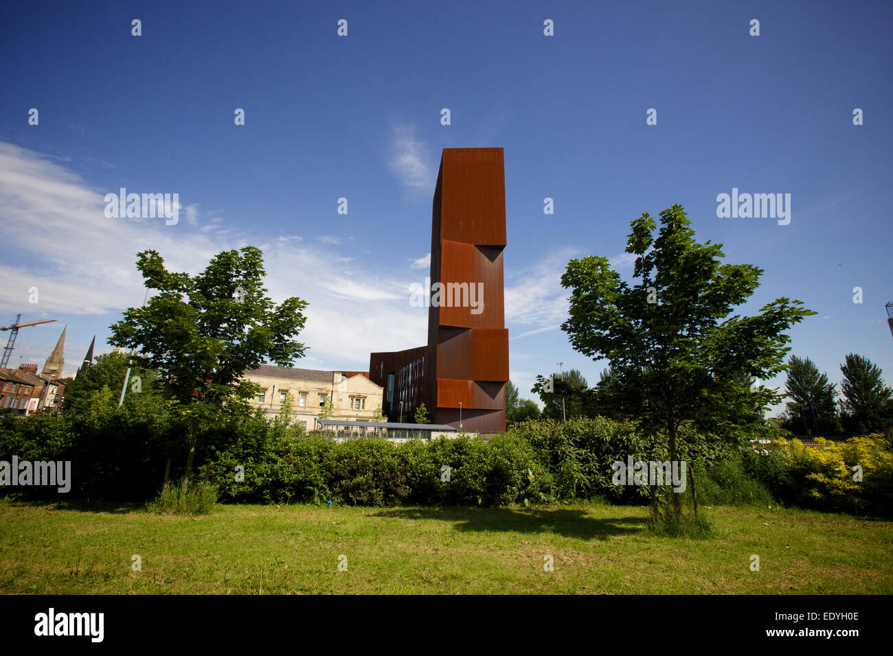 wide shot of Broadcasting Tower in Leeds Stock Photo