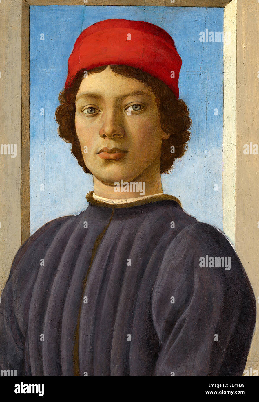 Filippino Lippi (Italian, 1457 - 1504), Portrait of a Youth, c. 1485, oil and tempera on panel - Stock Image