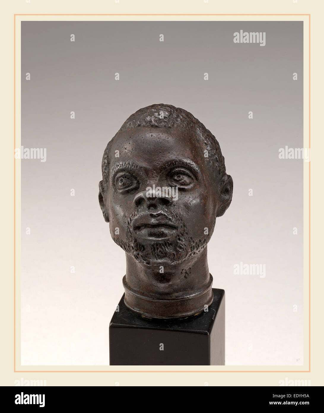 Venetian 16th Century, Head of a Moor, second half 16th century, cast iron - Stock Image