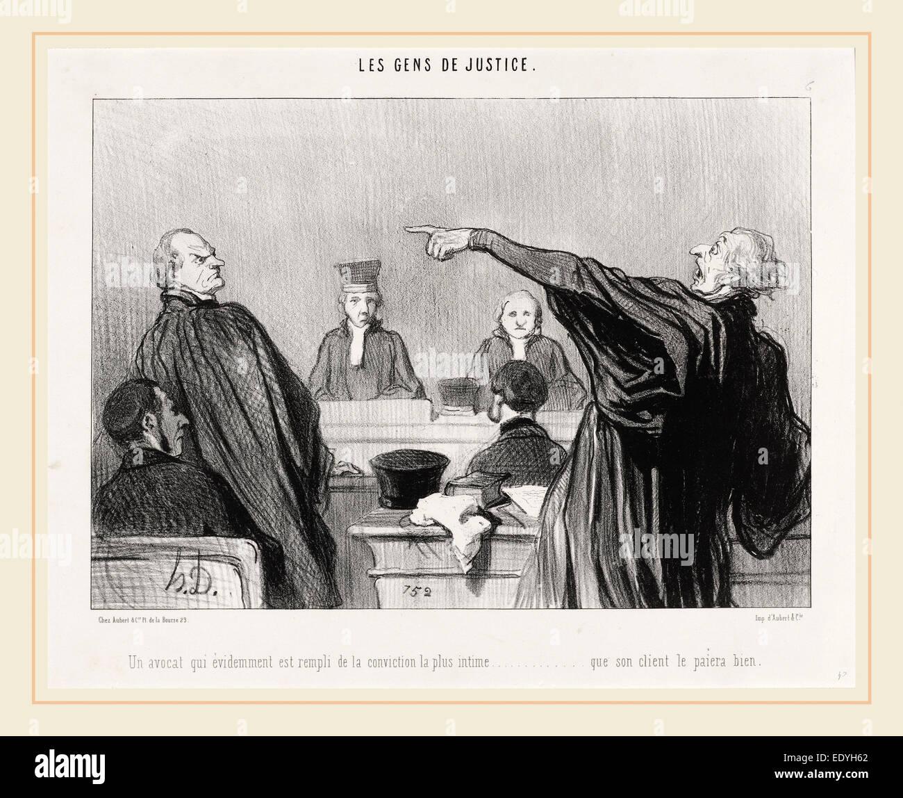 Honoré Daumier, Un Avocat qui est... rempli de la conviction... intime..., French, 1808-1879, 1845, lithograph - Stock Image