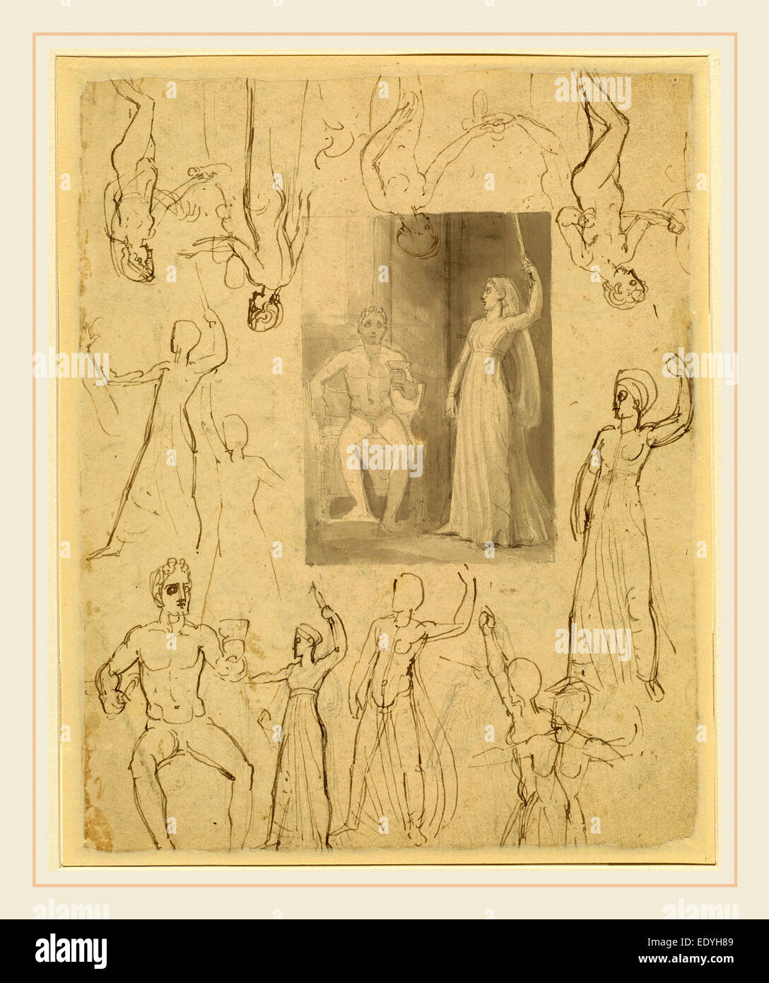Thomas Stothard, Design for a Book Illustration and Related Studies [recto], British, 1755-1834, pen and gray and - Stock Image