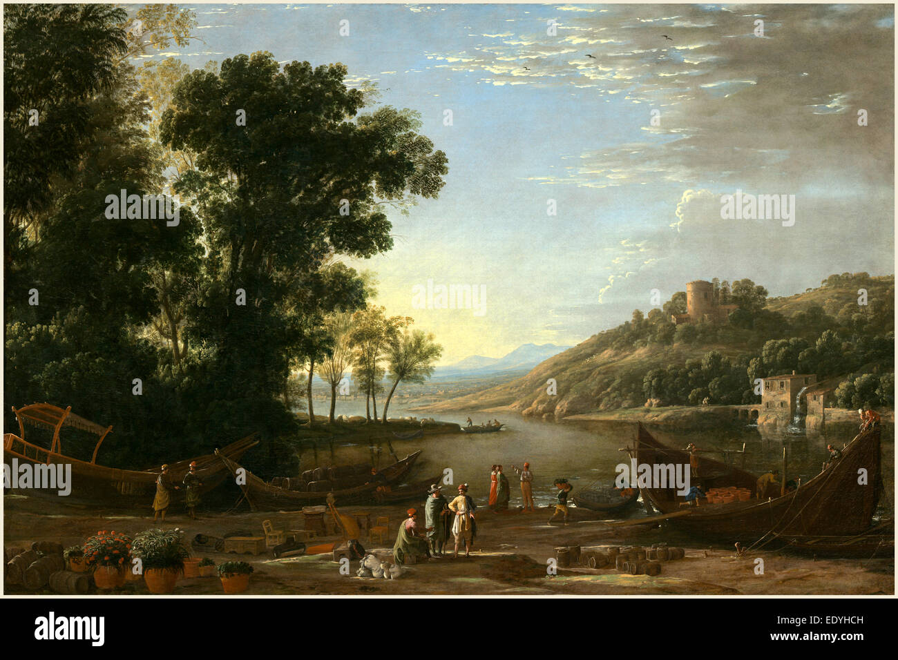 Claude Lorrain, French (1604-1605-1682), Landscape with Merchants, c. 1629, oil on canvas - Stock Image