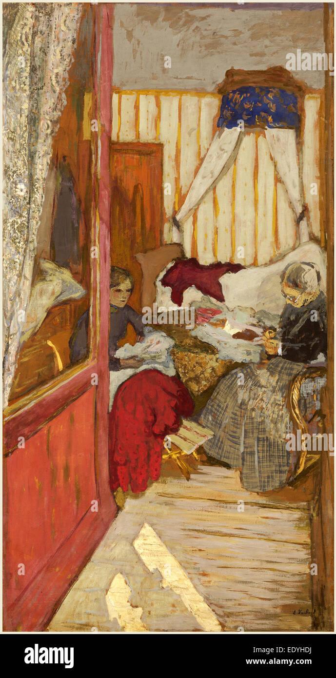 Edouard Vuillard, Women Sewing, French, 1868-1940, c. 1912, glue on paper on canvas - Stock Image