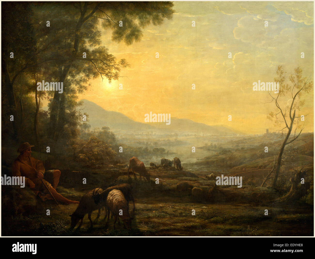 Follower of Claude Lorrain, The Herdsman, 17th or 18th century, oil on canvas - Stock Image